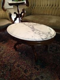 Oval marble top Victorian coffee table