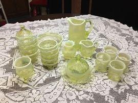 "Flint ""Manila"" opalescent vaseline glass, dining table"