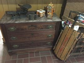 Marble top washstand, vintage scale