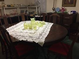 "Flint ""Manila""opalescent vaseline glass, dining table"