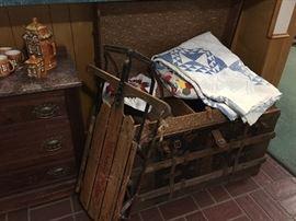 Vintage trunk & sled, old quilts