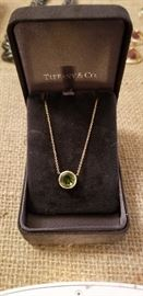Tiffany & Co. 18K gold chain w/green Tourmaline Pendant