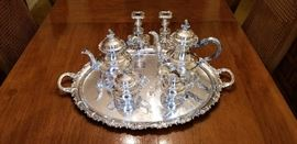 Alt-Heidelberg German Sterling Silver Tea Service wl silver-plated tray