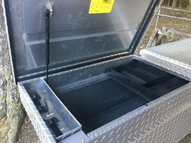 Heavy duty, dual side-entry truck bed tool box.