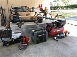 Wide variety of tools, air, automotive, garden, yard, carpentry, electrical and much more not pictured here. Craftsman portable generator, 20-ton jack, air compressor, heavy duty truck bed tool box dual side entry,  vintage  Raleigh bike and more.