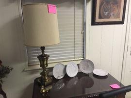 Stiffel lamp and Frankoma Christmas plates