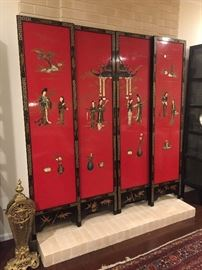 4 Stunning Cinnabar Colored Asian Panels with Handapplied Figures and MotherofPearl Embellishment