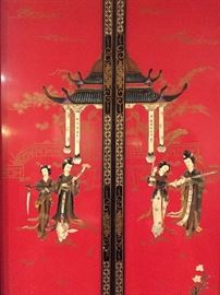 4 Stunning Cinnabar Colored Asian Panels with Handapplied Figures and Mother-of-Pearl Embellishment - detail