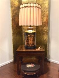A Pair of Antique Tole  Gilt Tea Canister Lamps