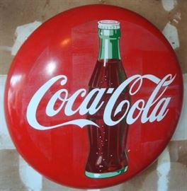 VINTAGE PORCELAIN ENAMEL COCA COLA BUTTON SIGN. MEASURES 3FT