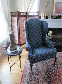 Wing Chair w wonderful fabric, Folding Screen Silk Asian Theme panels