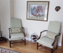 Pair Martha Washington Antique Lolling Chairs