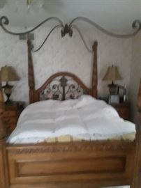 Queen Size Canopy Bed with matching Armoire, Dresser and Night Stands