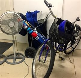 schwinn lady's bike, TWO like new stand up fans,  4 like new portable camp/beach chairs, beach umbrella, beach cart.
