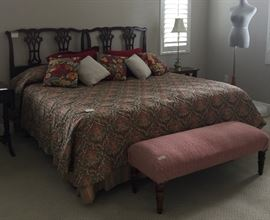 twin beds, mannequin, bedding, linens galore,