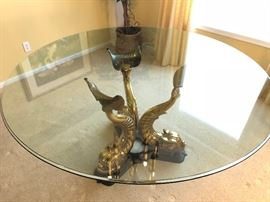 Gorgeous Vintage Italian Brass Dolphin Tail Koi base dining table with 6 chairs