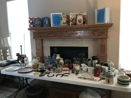 Cowboy table top serving items.   Cookbooks.  Crocks.  Tea pots.  creamers.   soup mugs.  Mugs.  Vases.  Decorative items.