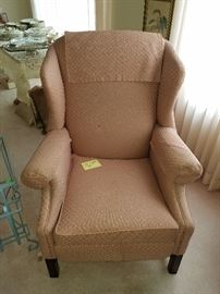 Dusty rose wingback chair, $25