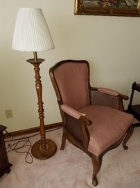 Dusty rose rattan insert armchair,  $25 ,  Oak Floor Lamp, $30
