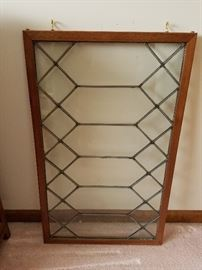 "Leaded glass panel, about 24"",  $40"