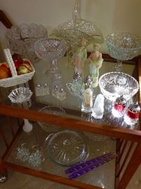 TEA CART, VINTAGE FIGURINES, CUT & PRESSED GLASS