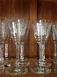 "ROCK SHARPE ""HALIFAX"" WATER/WINE STEMS/GLASSES ETCHED. SET OF 16"