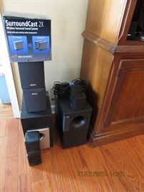 Multiple surround sound systems.  Bose x 2.  SoundCast, Rocketfish