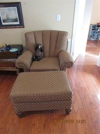 Fabric chair and ottoman