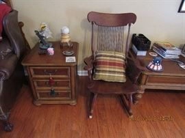 wooden rocking chair, wooden end table, wooden coffee table