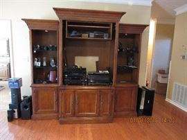 3 piece Hooker entertainment Center.  Pieces sold separately.   Cordless phone systems, turntable, 5 CD player, Receiver, cassette deck, VCR, Wireless headsets, Logitec Harmony One remote