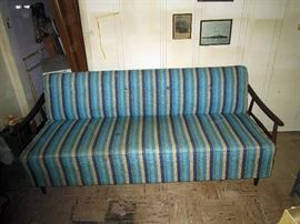 Living Room:  Fantastic Mid-Century Sleeper Couch Turquoise Blue/Tan/Light Blue Great Condition