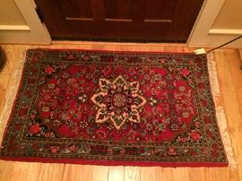 No. 2 Indo-Persian (probably India); handknotted; wool on cotton; good condition; 20th C; Size:  2 x 4 Found in foyer