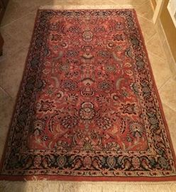 No. 11 Indo-Persian Kirmin pattern; wool on cotton; 20th C; Size:  3.2 x 4.11; Located in  Master Bath