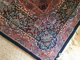 No. 12 Indo-Persian; Kirmin pattern; finely knotted; wool on cotton; 20th C; Size: 6.2 x 8.10; Located in upstairs bedroom