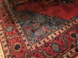 No. 6 Persian Heriz ; handknotted; wool on cotton; good condition; 20th C; Size: 9.1 x 11.9; Located in dining room