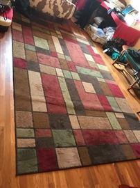 #5square pattern rug78x120 machine made $60.00