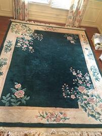 #2 chinese 8x10 green cream rug $100