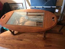 #8Oak Coffee Table w/glass top 48x27x18 $75.00