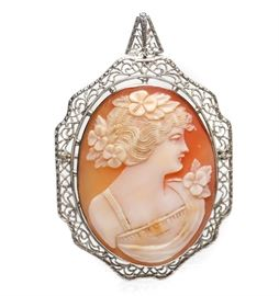 EXQUISITE LARGE 14K GOLD CAMEO BROOCH PENDANT