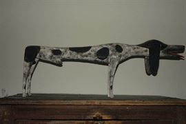 Folk Art Bird Dog - hand carved and painted