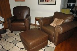 Leather recliner and chair with ottoman