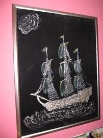 We have it! ship painting on velvet