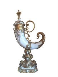 """""""Imari"""" Horn Porcelain & Ormolu - Japanese Imari Porcelain, made in Arita, Japan"""