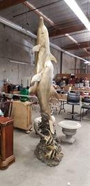 a 10 foot tall bronze dolphin sculpture fountain