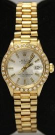 LOT #82- LADY'S PRESIDENTIAL 18KT ROLEX WATCH WITH DIAMONDS