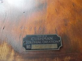 Metal Cushman furniture tag