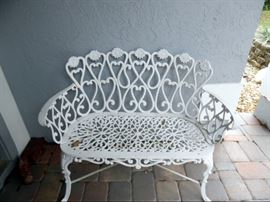Wrought Iron White heart Scroll Bench