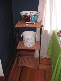 Wicker/wrought iron shelf