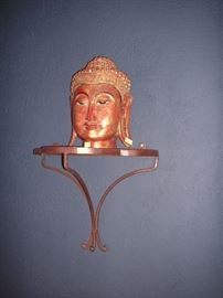 Carved Buddha/wrought iron shelf
