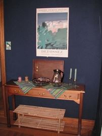Sofa table, bamboo shoe rack